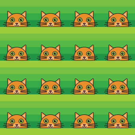 A seamless pattern with ginger cat heads