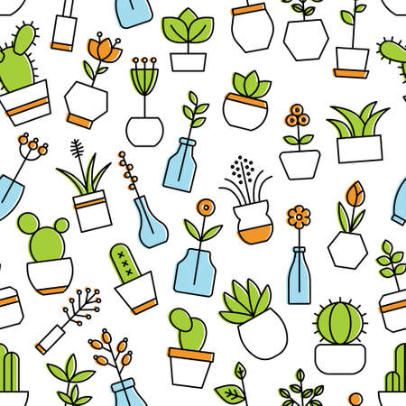 A home flowers seamless pattern isolated on plain background