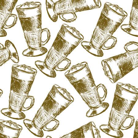 A doodle latte machination coffee seamless pattern Иллюстрация