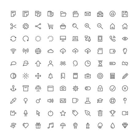 A hundred basic vector icons isolated on plain background
