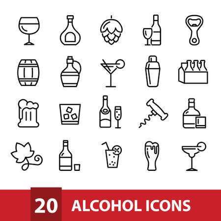 alcohol vector icons collection Иллюстрация