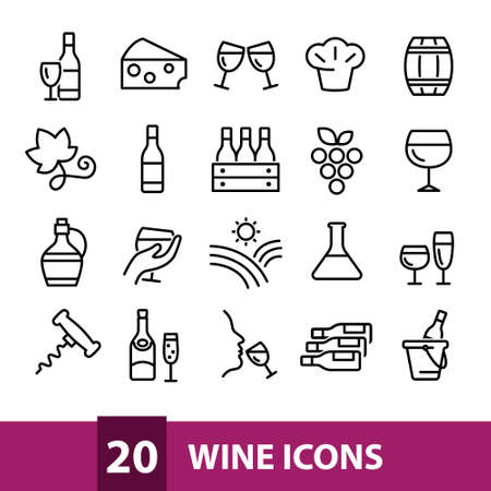 wine vector icons collection