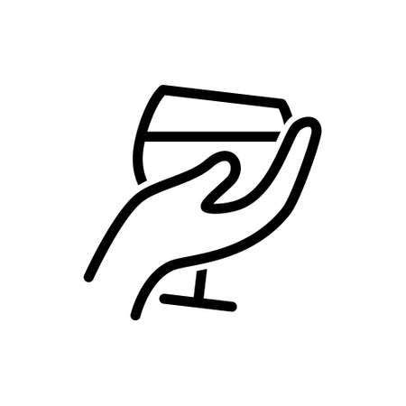 glas of wine in hand vector icon