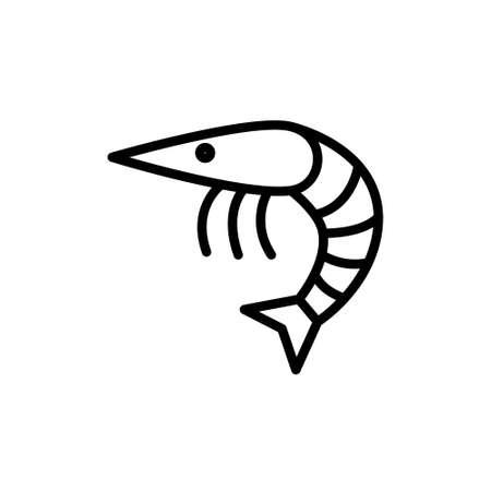 shrimp line vector icon