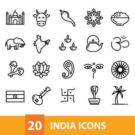 india vector icons collection