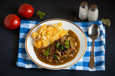 mushrooms in sauce with mashed potatoes