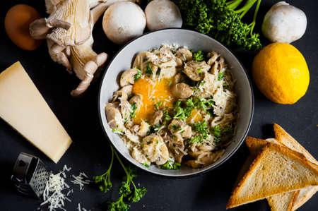 mushrooms with egg yolk and parmesan