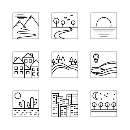 vector square simple icons Иллюстрация