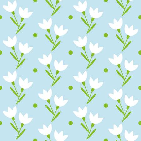 snowdrop vector seamless pattern
