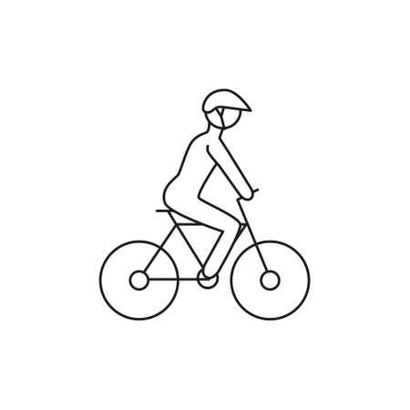 doodle biker with helmet icon Illustration