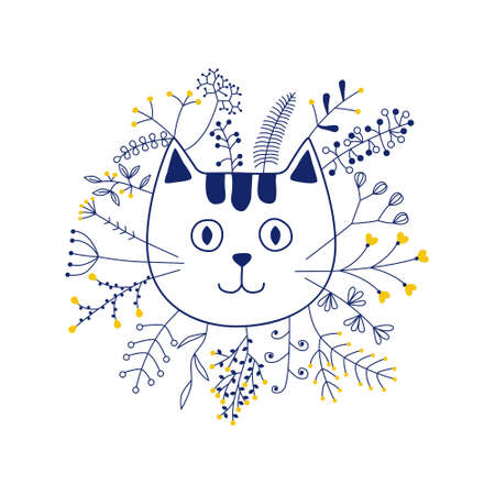 vector cat head with flowers