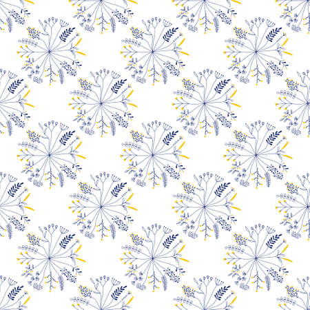 seamless pattern with rund shaped flowers