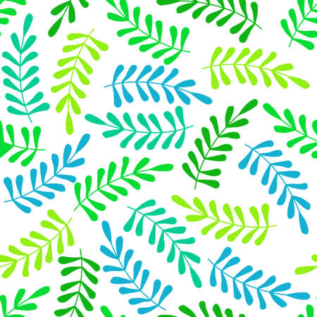 seamless pattern with green and blue leaves