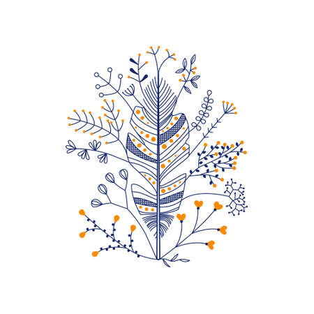 vector feather with flowers in dark blue