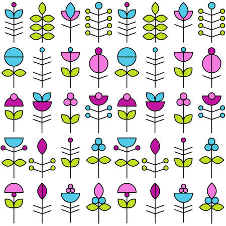 vector abstract flowers seamless pattern
