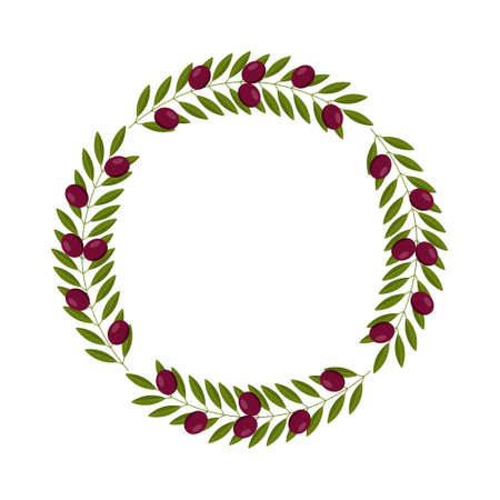 vector wreath with black olives and leaves