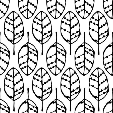 seamless pattern with black leaves 矢量图像