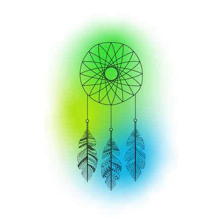 vector dreamcatcher with feathers and colorful background