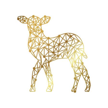 polygonal illustration of gold deer 矢量图像