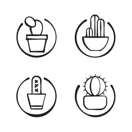 four doodle cactuses on circle