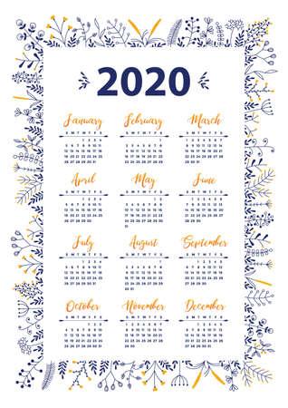 2020 vector calendar with floral design