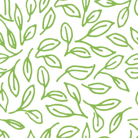 pattern with doodle green leaves