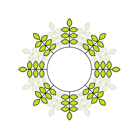 vector green leaves in circle