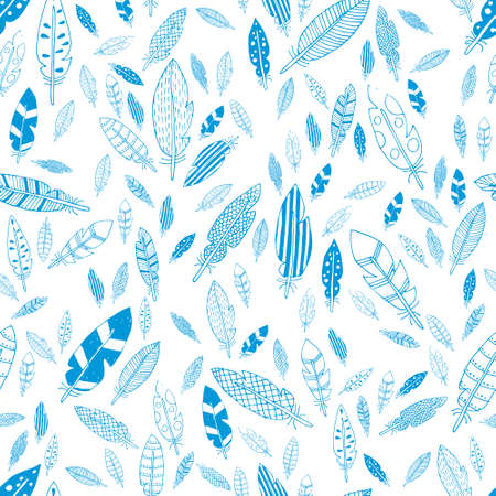 blue and white feathers seamless pattern