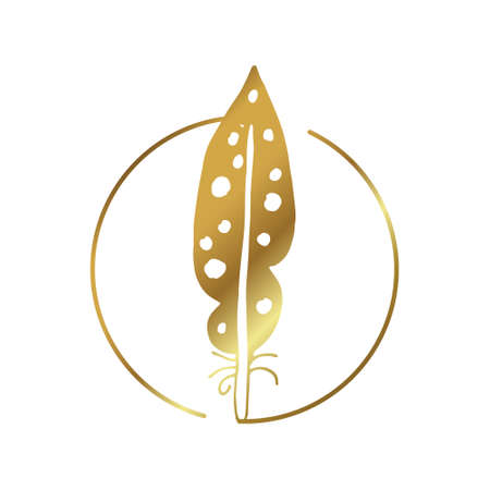 vector feather in gold color Illustration