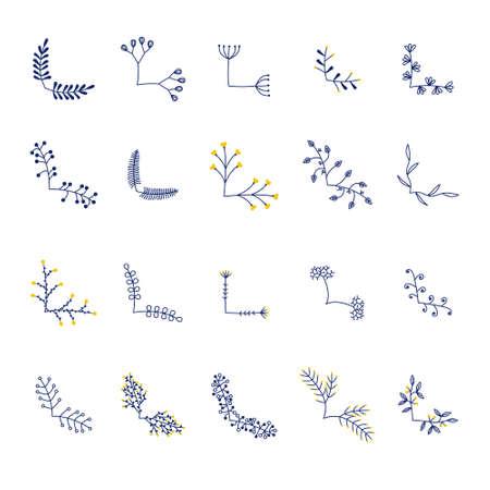 set of vector flower frame corners