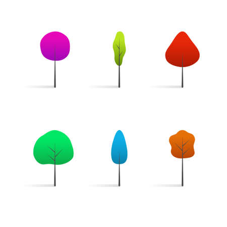 collection of vector colorful trees