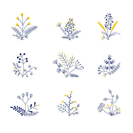 set of nine vector bouquets 矢量图像