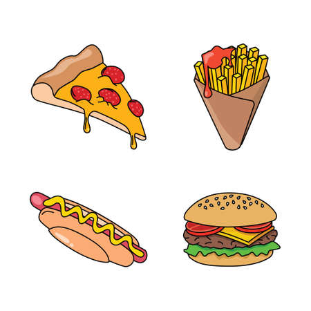 fast food icons - pizza, French fries, hot dog and hamburger