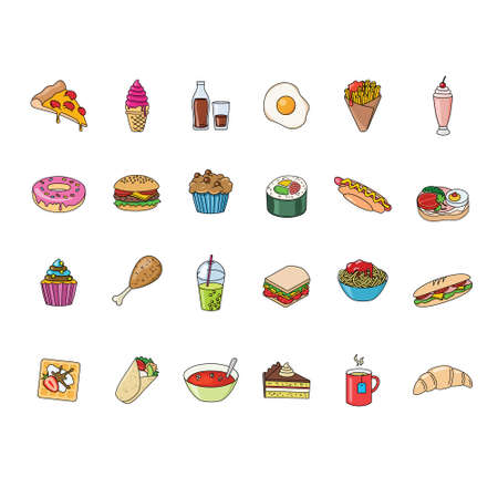 big set of food and beverages icons 矢量图像