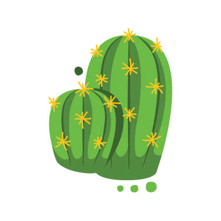 green cactus with yellow thorns 矢量图像