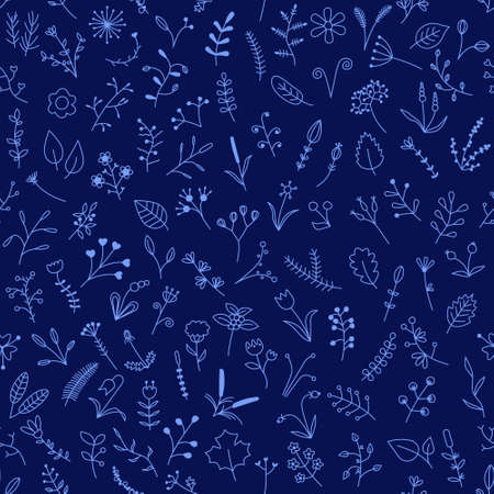 blue seamless pattern with beautiful flowers