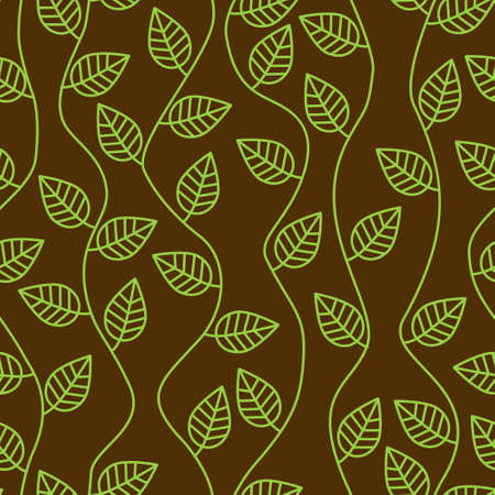 brown seamless pattern with leaves and curves 矢量图像
