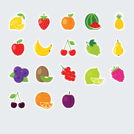 set of colofrul fruit icons