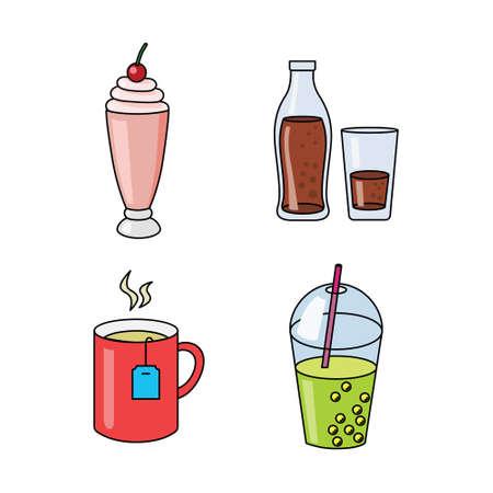 vector set of four beverages 矢量图像