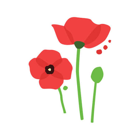 vector red poppy with dots 矢量图像