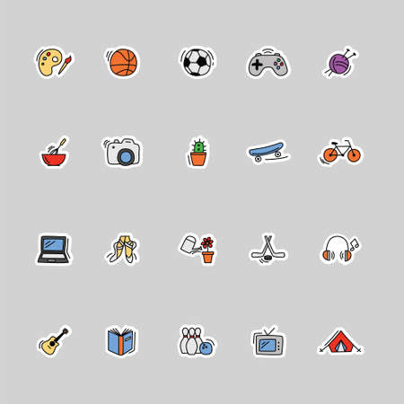 collection of kids hobbies icons 矢量图像