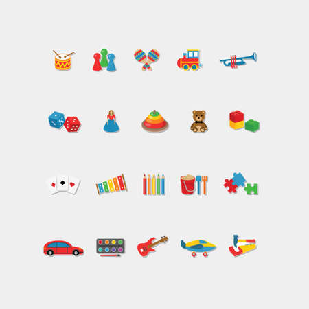 set of color toys icons 矢量图像