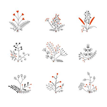 set of nine vector bouquets Illustration