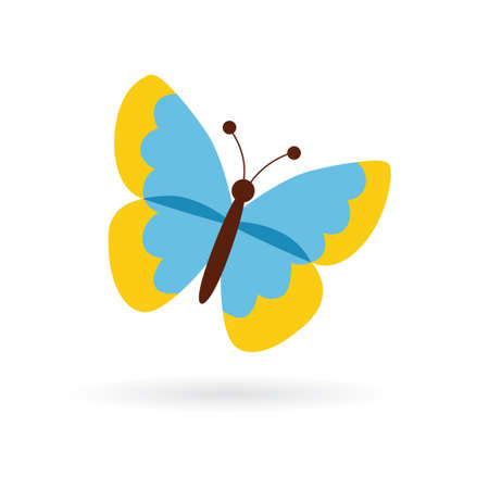 blue and yellow vector butterfly