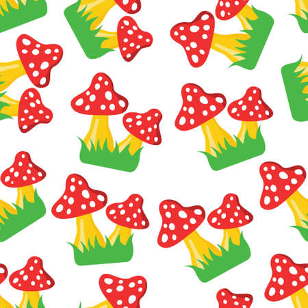 fly agaric on green grass seamless pattern 矢量图像