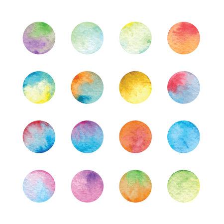 set of vector colorful watercolor circles