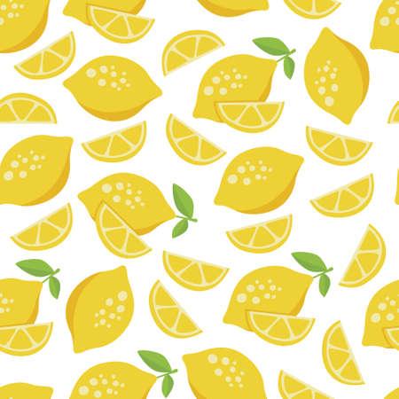 lemon seamless pattern with white background
