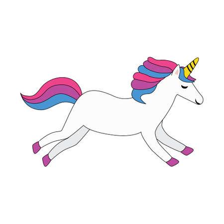 white unicorn with colorful mane