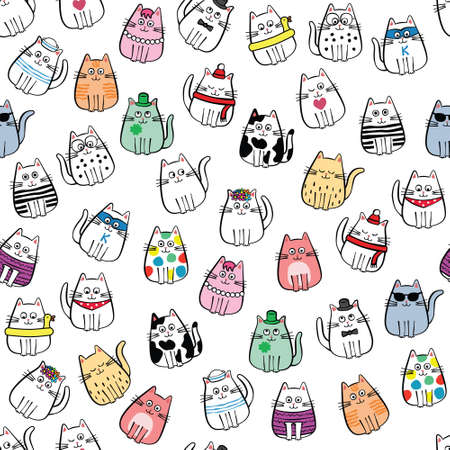seamless pattern with miscellaneous cats