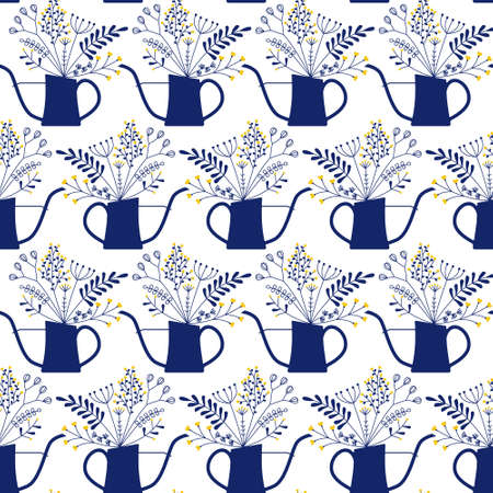 seamless pattern with bouquet in waterng can Illustration